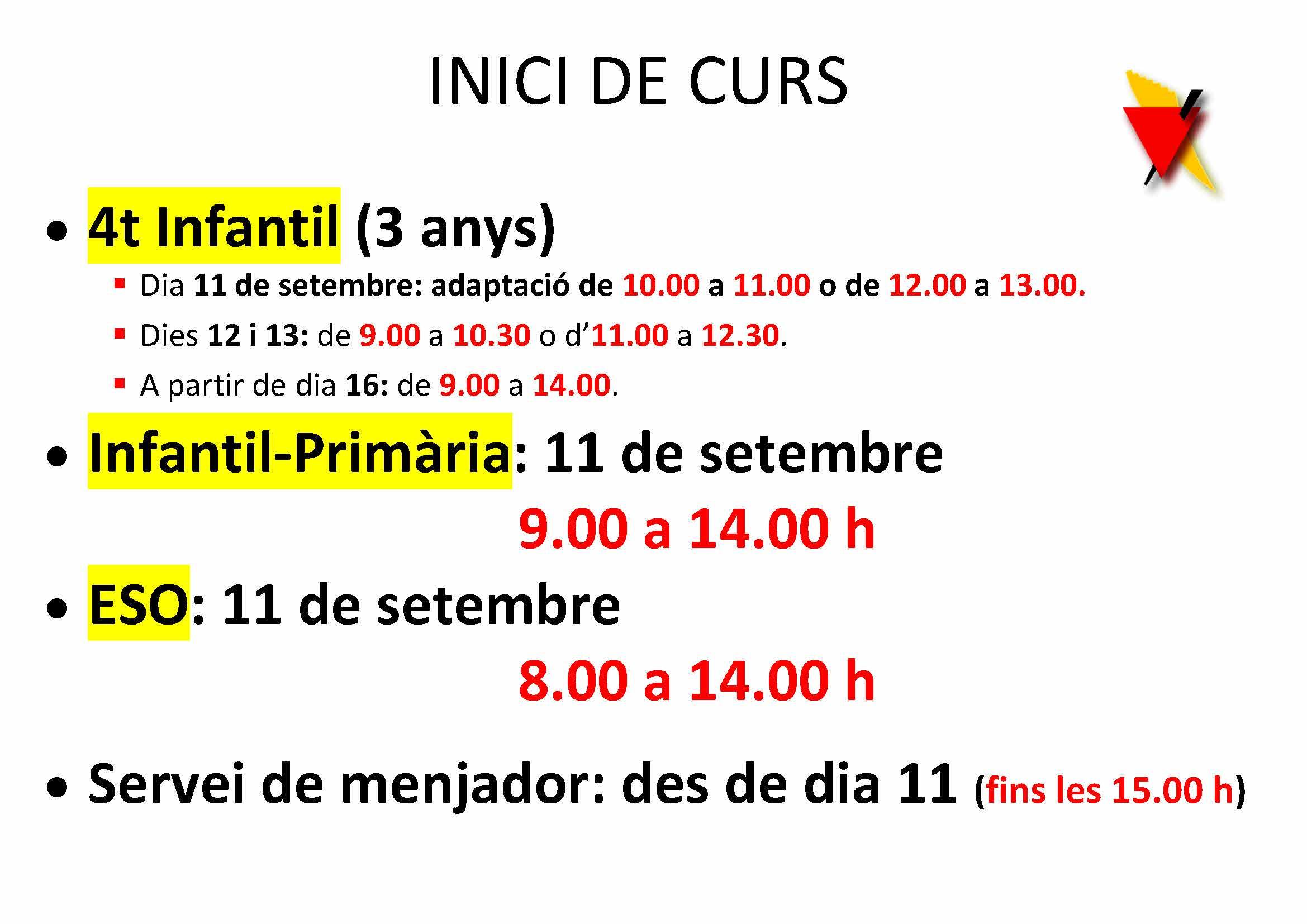 INICI CURS