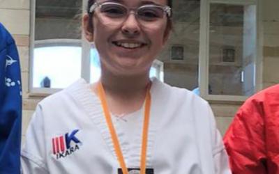 Neus Villalonga,  tercera clasificada en el Campeonato  de Baleares Infantil de Taekwondo.  Enhorabuena!